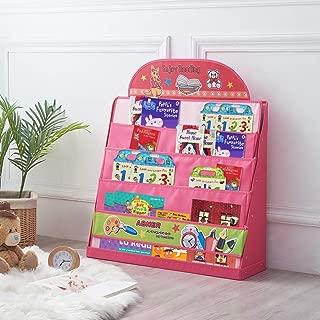 SAND MINE Kids Storage Bookshelf, Baby Room Bookcase, Classroom Book Organizer Display Magazine Rack Holder (Red)