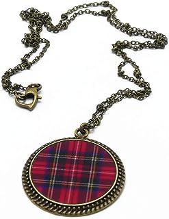 Collana in resina ottone bronzo scozia scozzese orologio rosso o nero piastrelle scozzesi catena palla cuore chiusura rega...