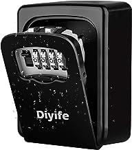 Diyife [Montage mural] Boite à clé sécurisée, Combinaison Clé Coffre de Stockage Coffre-Fort pour les Clés de la Maison de la Maison de l'École de Garage à Domicile - Noir