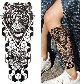 3D Mechanische Tijdelijke Tattoo Vrouw Man Man Volwassen Zwarte Bloem Kompas Tattoo Sticker Driehoek Oogklok Tattoo Been B...