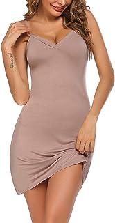 Avidlove Women Modal V Neck Nightwear Sleeveless Straight Dress Mini Short Slips
