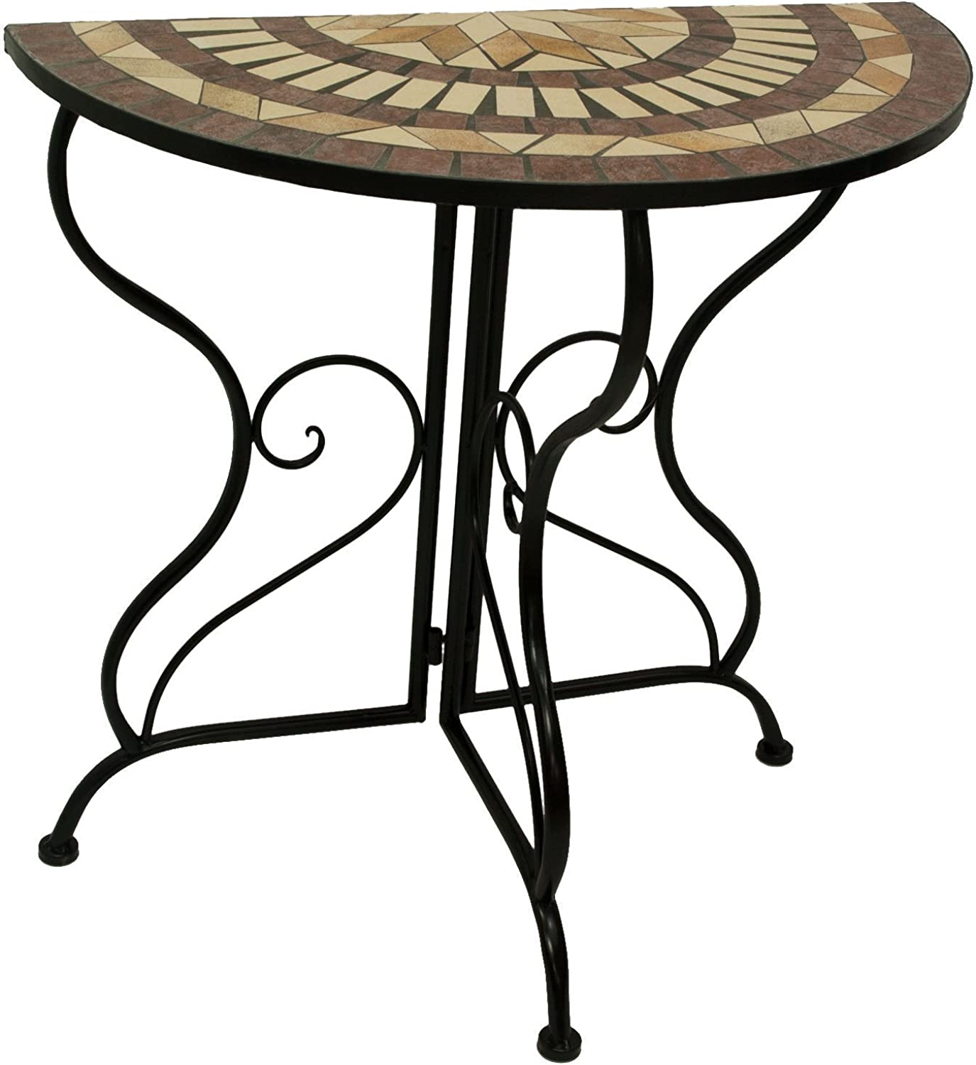 D64066 Console Mosaic Table Wrought Iron Legs