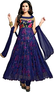 Rahi Fashion Women's Blue Net Anarkali Graphic Printed Semi-stitched Salwar Suit Dupatta Material