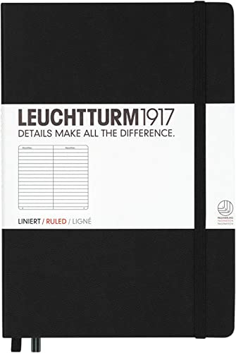 Leuchtturm1917 300612 Carnet Medium (A5), 249 pages numérotées, noir, ligné