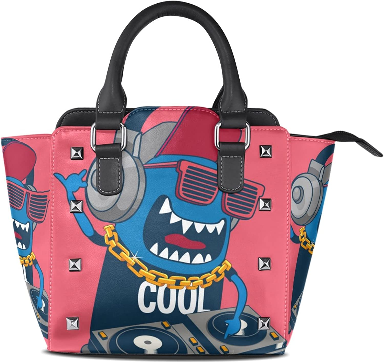 Women's Top Handle Satchel Handbag Cute Monster Play Music Ladies PU Leather Shoulder Bag Crossbody Bag