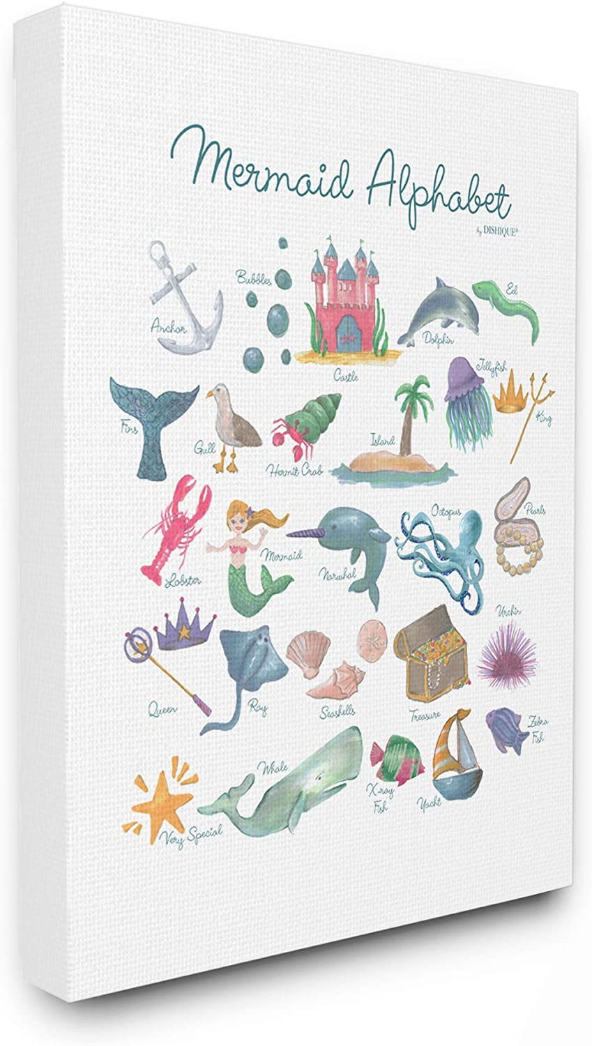 The Kids Room by Stupell Watercolor Mermaid Alphabet with Bubbles Sea Creatures and Anchor Stretched Canvas Wall Art, 11x14, Multi-color