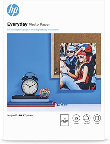 Papier photo HP Everyday, brillant, 200 g/m2, A4, 25 feuilles