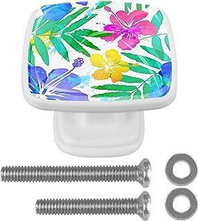 Paquet de 4 boutons d'armoire de cuisine, boutons pour tiroirs de commode Abstrait Hawaii Fleur Summer Tire les poignées d...