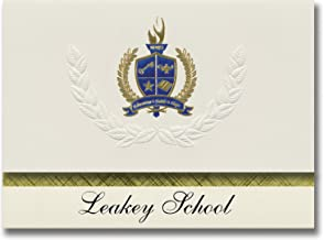 Signature Announcements Leakey School (Leakey, TX) Graduation Announcements, Presidential Style, Elite Package of 25 with Gold & Blue Metallic Foil Seal