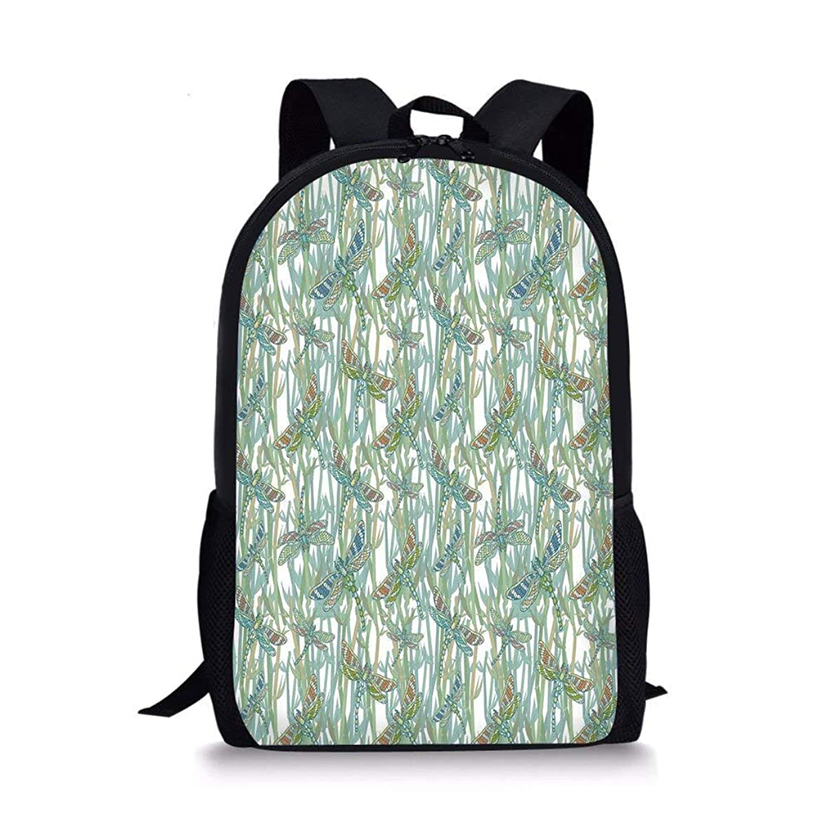 School Bags Dragonfly,Spiritual Design Flying Winged Creatures on the Lake Summer Exotic Graphic Art,Turquoise for Boys&Girls Mens Sport Daypack