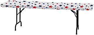 """Creative Converting Patriotic Stars Stay Put Plastic Tablecloth, 29"""" x 72"""", Red, White and Blue"""
