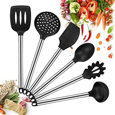 Silicone Kitchen Utensils Set, 6 Piece Cooking ...