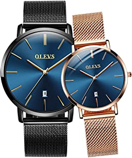 His & Hers Watches Couple Watch for Men Women Matching Wristwatch Pair Analog Quartz Date Waterproof Anniversary Watches Gifts Set