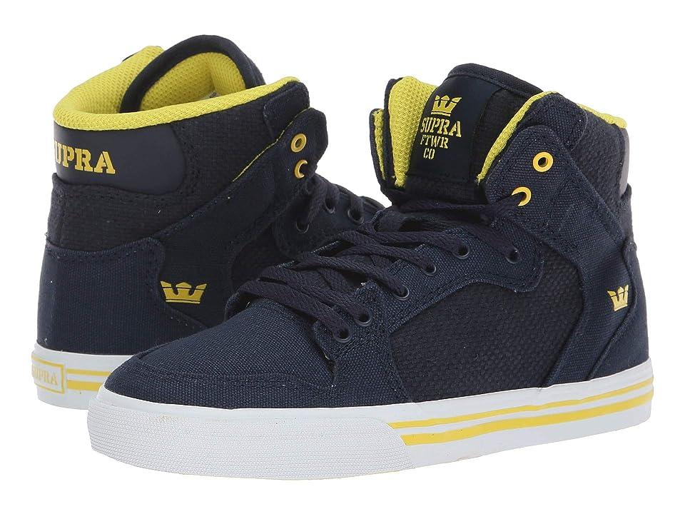 Supra Kids Vaider (Little Kid/Big Kid) (Navy/Yellow/White) Boys Shoes