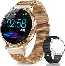 NAIXUES Smartwatch, Reloj Inteligente IP67 Pulsera Actividad Inteligente con Pulsómetro, Monitor de Sueño, Podómetro, Calorías Mujer Hombre para iOS y Android (Dorado)