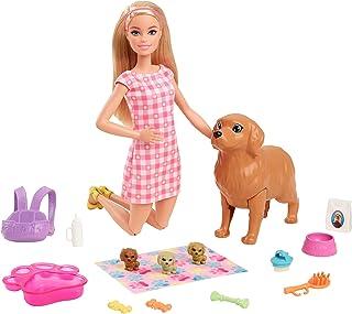 عروسک باربی و توله سگهای تازه متولد شده عروسک بازیگر (بلوند ، 11.5 اینچی) سگ مامانی با ویژگی تولد ، 3 توله سگ
