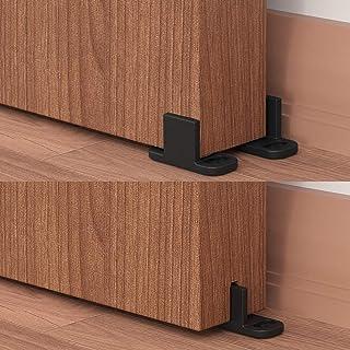 WINSOON 2PCS New Design Adjustable Floor Guide for barn door hardware Black With Screws (2PCS)