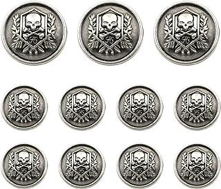 Grekywin Skull Design Vintage Style Metal Buttons for Coat Blazer Suits Uniform Jacket etc