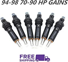 YouVbeen Performance Diesel Fuel Injector Set Fits for 94-98 Dodge 5.9L Cummins 12V Stage 2: 70-90 HP Gains 12MM Thread Only 154 Degree Spray Pattern Nut Size is 512 MM (6Pcs)