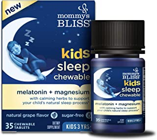 Mommy's Bliss Kids Sleep Chewable Tablets with Melatonin, Calming Herbs and Magnesium (Ages 3+), 35 Tablets