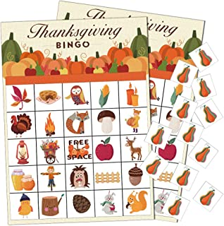 Thanksgiving Games Fall Bingo Cards for Kids Class School Party Activity Supplies,24 Players