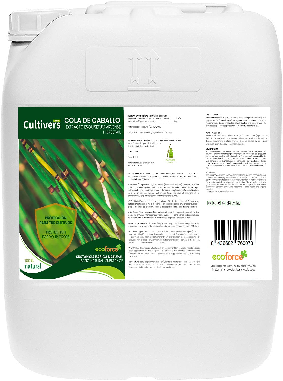 CULTIVERS Cola de caballo de 20 L. Bioestimulante Natural Preventivo y Curativo. Acción Fungicida. Sustancia Básica Refuerza el Mecanismo Defensa de las Plantas