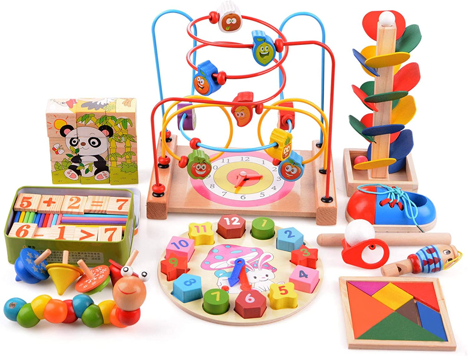 Bead Maze Wooden Baby Toddler Toys Set Including Cube Block Tangram Puzzles Wooden Whistle Educational Toy for Boys Girls Gift