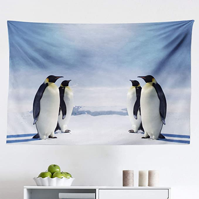 Animals 8x10 FT Photography Backdrop Two Pairs of Penguins Facing Each Other at South Sunny Antarctica Background for Kid Baby Boy Girl Artistic Portrait Photo Shoot Studio Props Video Drape Vinyl