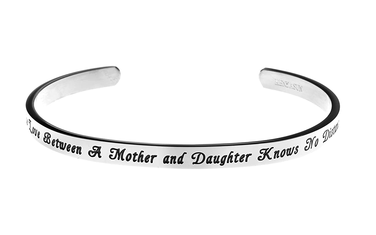 Kendasun Jewelry The Love Between A Mother and Daughter Knows No Distance Inspirational Messaged Cuff Bracelet Bangle