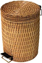 SDHKE Trash can Kitchen Rattan Woven Toilet Trash can, Creative Round Vintage Living Room Bedroom with Recycling bin (Size...