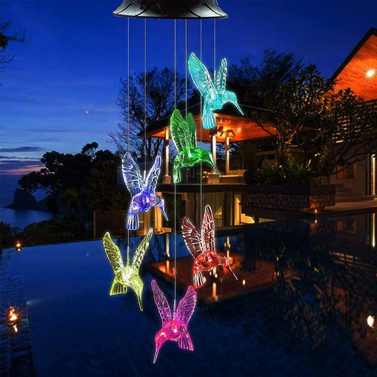 Solar Hummingbird Wind Chimes O Spring Store new work one after another Color Chime Changing