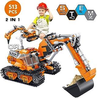 VATOS Building Sets for Kids, Building Kit for Boys 6 7 8 9 10 11 12 Years Old, 513 PCS 2 in 1 Excavator or Drilling Car STEM Building Toys Building Blocks, Buildable Toy for Kids, Building Bricks Kit