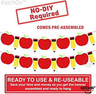 Back to School Decorations for Classroom - Felt Apple Banner and Pencil Banner | Back to School Banner for Pre School, Kindergarten, Office | Teacher Decorations for Classroom, First Day of School
