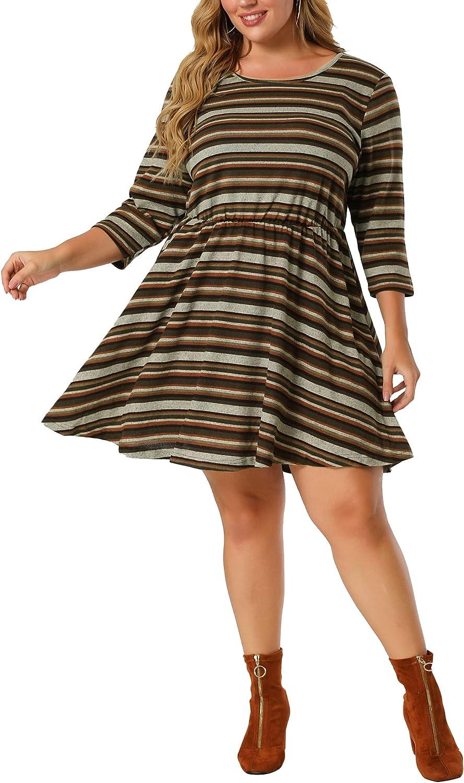 Agnes Orinda Plus Size Casual Dress for Women Boho Fit Flare Round Neck Striped Dresses