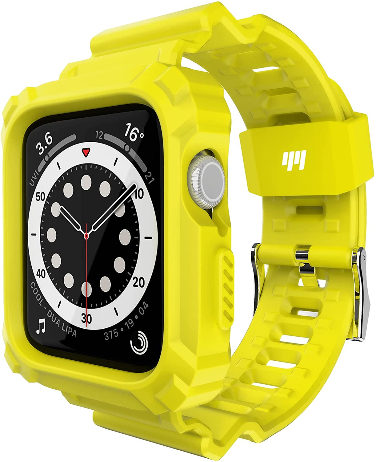 Double-N Compatible for Apple Watch Band 44mm 42mm with Bumper Case, Rugged Protective Shockproof Resistant Case with TPU Sport Strap Bands Fit for iWatch 6/5/4/3/2/1/SE-Illuminating Yellow