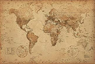 Antique Vintage World Map 36x24 Art Print Poster Wall Decor Educational
