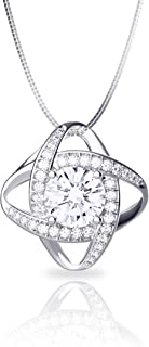 Jewlpire Customized [Satellite Series] Sterling Silver Necklace Brilliant Diamond-Cut Cubic Zirconia Pendant Necklace for Women Girls - Classy and Elegant (18 Inch)