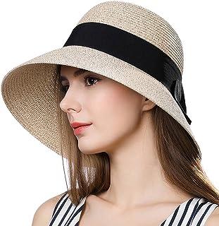 Fancet Packable Womens Straw Cloche Derby Fedora Summer Wide Brim Sun Hat Floppy Beach 55-60cm