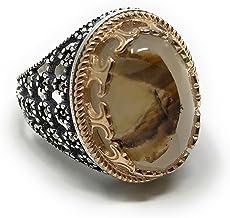 KAR Rare Find 925K Sterling Silver Yemeni Agate(Aqeeq) Men's Ring P5D