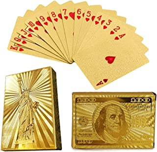 2 Pack Poker 24k Gold Foil Playing Cards Chow Yun-Fat Gamblers Dollars Statue of Liberty Waterproof