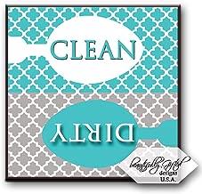 Clean Dirty Dishwasher Magnet Sign for Dishes - Elegant Quatrefoil Moroccan Trellis Modern Pattern - AQUA BLUE/GREY - 2.5 x 2.5 - Housewarming, Bridal Registry & Gag Gift Idea Stocking Stuffers