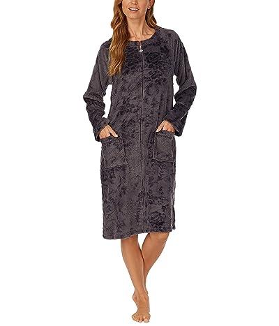 Eileen West Cozy Plush Long Zip Robe (Charcoal) Women