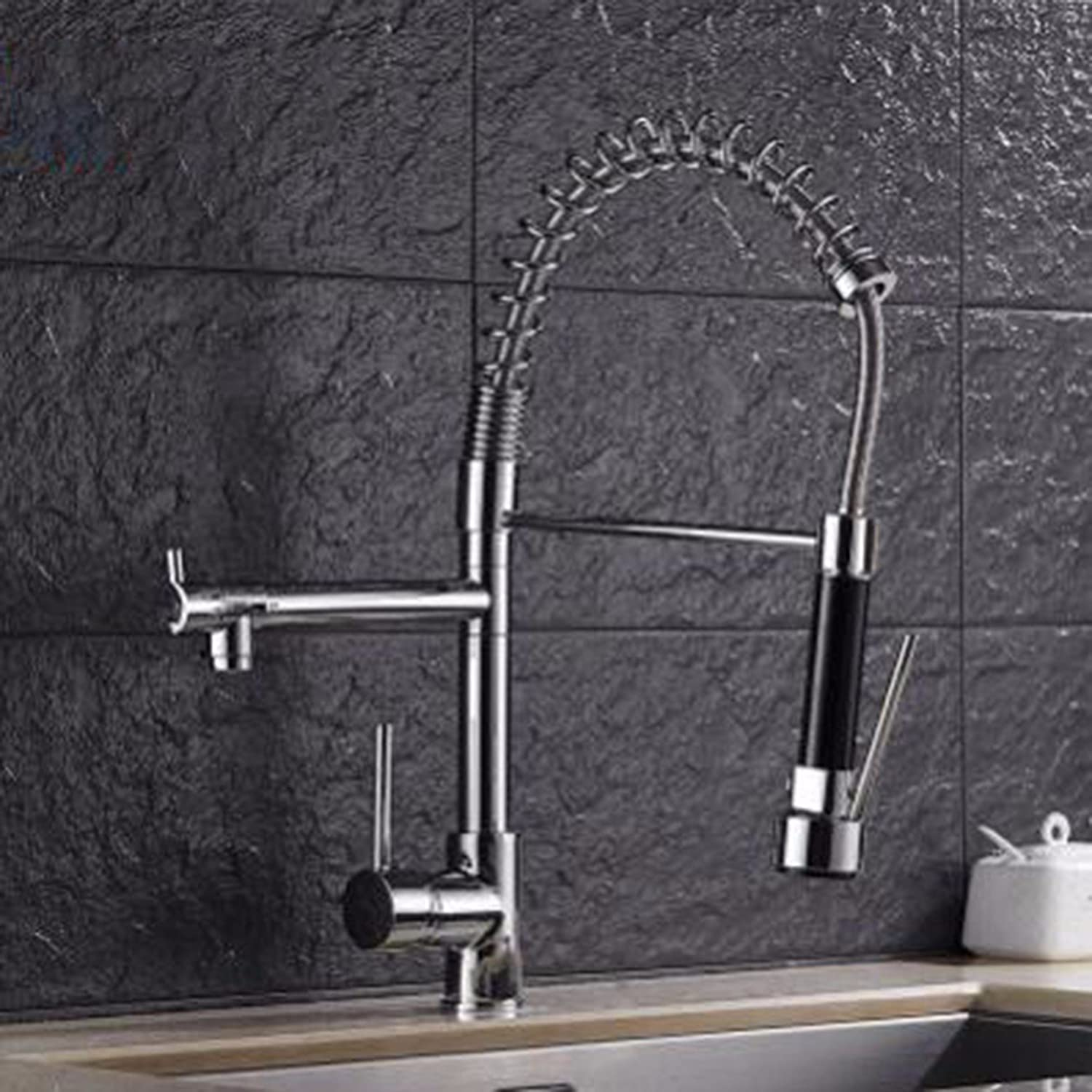 MulFaucet Spring Kitchen Faucet Pull and Stretch Sink Dish Faucet Double Water and hot