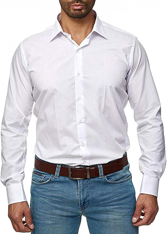 LEIYAN Mens Tailored Dress Shirt Casual Lapel Slim Fit Button Down Shirt Basic Work Business Dress Shirts