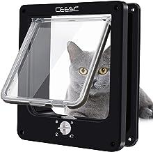 CEESC Cat Doors, Magnetic Pet Door with 4 – Way Rotary Lock for Cats, Kitties and..