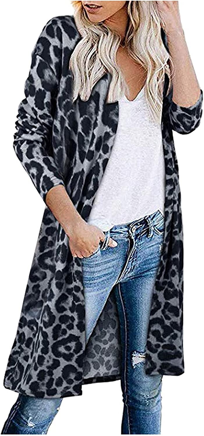 Fall Cardigan for Women Draped Open Front Sweaters Light Weight Knitted Long Sleeve Outwear with Pockets