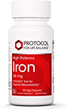 Protocol For Life Balance - Iron 36 mg (High Potency) - Ferrochel Iron for Superior Bioavailability, Helps Increase Energy...