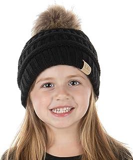 Kids POM Beanie Hat - Faux Fur Pom - Black (M/L)