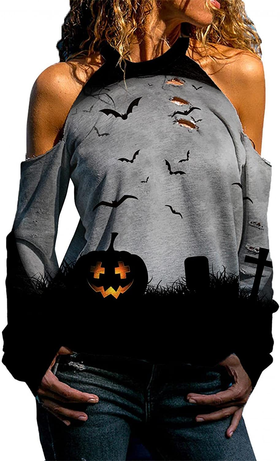 Jaqqra Halloween Shirts for Women Off Shoulder Long Sleeve Sweatshirts Pullover Cut Out Bat Printed Casual Tops Blouses