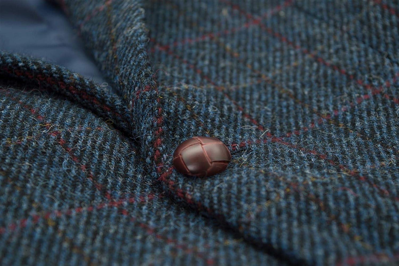 Walker & Hawkes - Men's Classic Scottish Harris Tweed Herringbone Overcheck Country Blazer Jacket